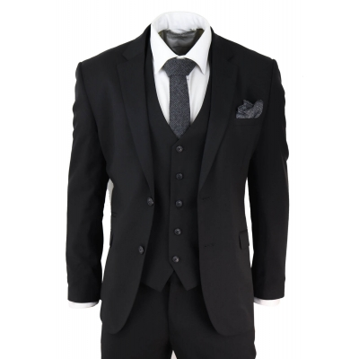 Mens Black 3 Piece Suit
