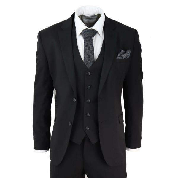 Mens Black 3 Piece Suit