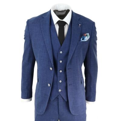 Mens Blue Summer Linen Suit