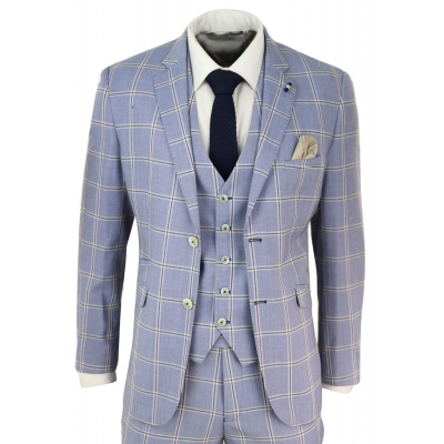 Mens 3 Piece Light Blue Check Suit