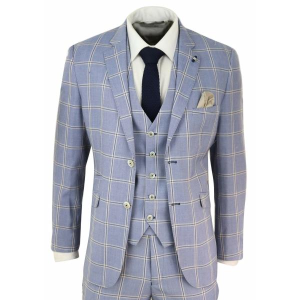 Mens 3 Piece Light Blue Check Suit