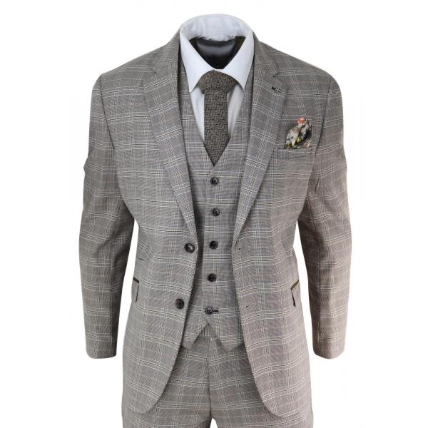 Brown Tweed Check 3 Piece Suit
