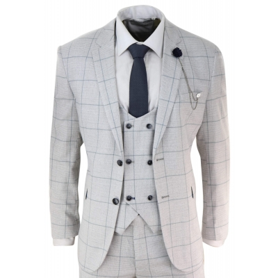 Light Grey Check 3 Piece Suit