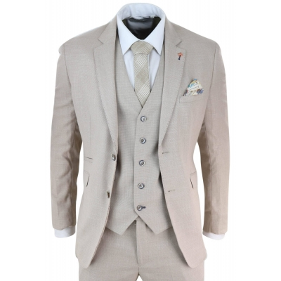 Mens 3 Piece Cream Linen Suit