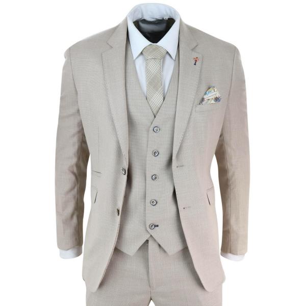 Mens 3 Piece Cream Linen Suit
