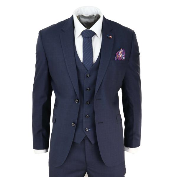 Mens Navy Blue Tailored Fit Suit