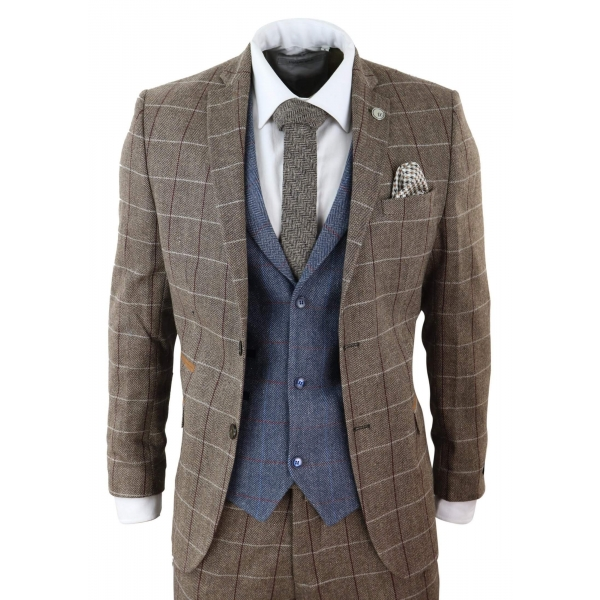 Mens Oak Brown 3 Piece Suit with Contrasting Blue Waistcoat