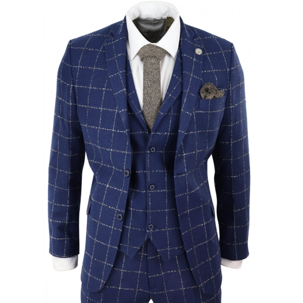 Mens Blue Tweed 3 Piece Wool Suit Oak Check Fit Peaky Blinders Vintage 1920s