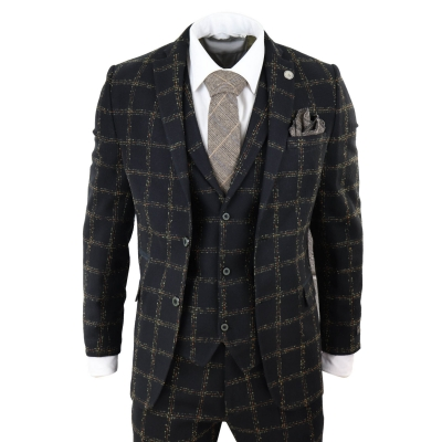 Mens Black Tweed 3 Piece Wool Suit Tan Check Peaky Blinders Vintage Fit Classic
