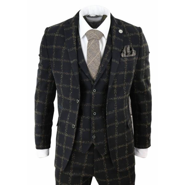 Mens Black Tweed 3 Piece Wool Suit Tan Check Peaky Blinders Vintage Fit Classic