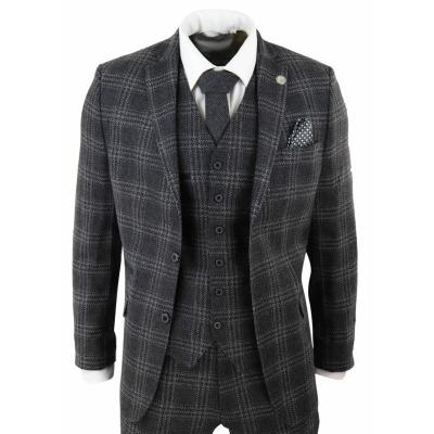 Mens Charcoal Tweed 3 Piece Wool Suit Check Peaky Blinders Vintage 1920s Fit