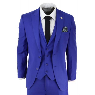 Mens Royal Blue Tailored Fit Suit