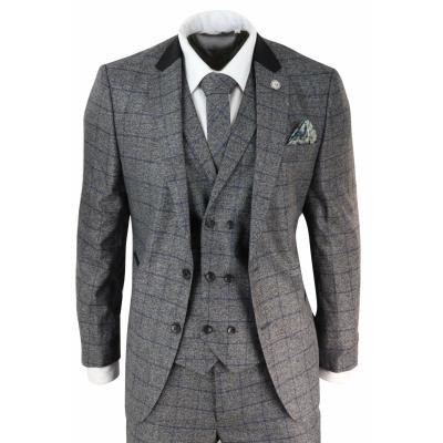 Mens Grey Blue Check 3 Piece Suit