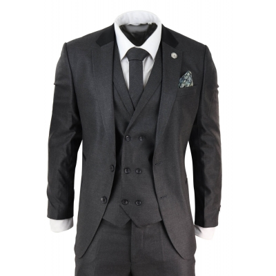 Mens 3 Piece Charcoal Grey Suit