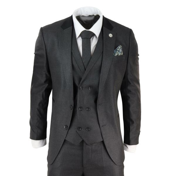 Mens 3 Piece Charcoal Grey Suit