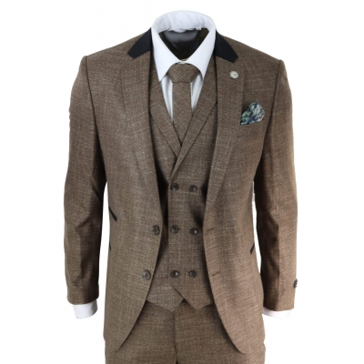 Mens 3 Piece Brown Tailored Fit Suit