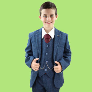 Boy dressed with blue 3 piece tweed boys suit and ready for wedding party