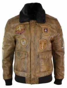 Mens aviator flying pilot real leather bomber jacket vintage tan removable black fur collar-brown
