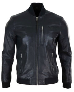Mens Classic Black Real Leather Bomber Jacket with Zip, tailored fit.