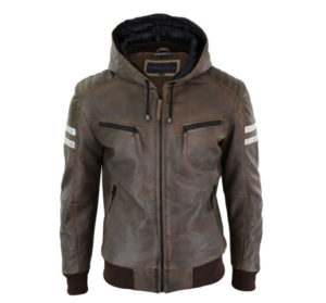 Men's leather jacket with hood and brown real leather. Happy Gentleman