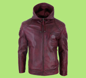 Men's leather jacket with hood. Red real leather jacket. Happy Gentleman