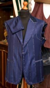Blue waistcoat for men in a bespoke project
