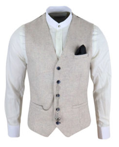 Men's vintage cream Peaky Blinders waistcoat with pocket watch from Happy Gentleman
