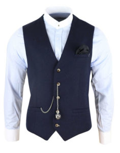 Men's vintage navy blue Peaky Blinders waistcoat with a pocket watch from Happy Gentleman