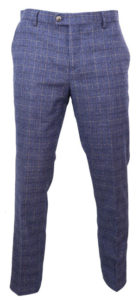 Matteo Blue Tweed Herringbone Mens Formal Trouser