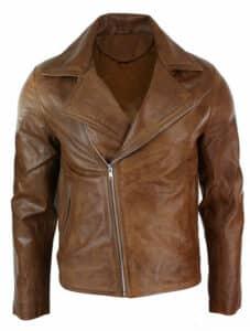 Slim fit tan bworn maroon classic cross zip men's leather jacket - Happy Gentleman