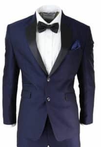 Navy Dinner Men's Tuxedo Suit, white shirt and bowtie